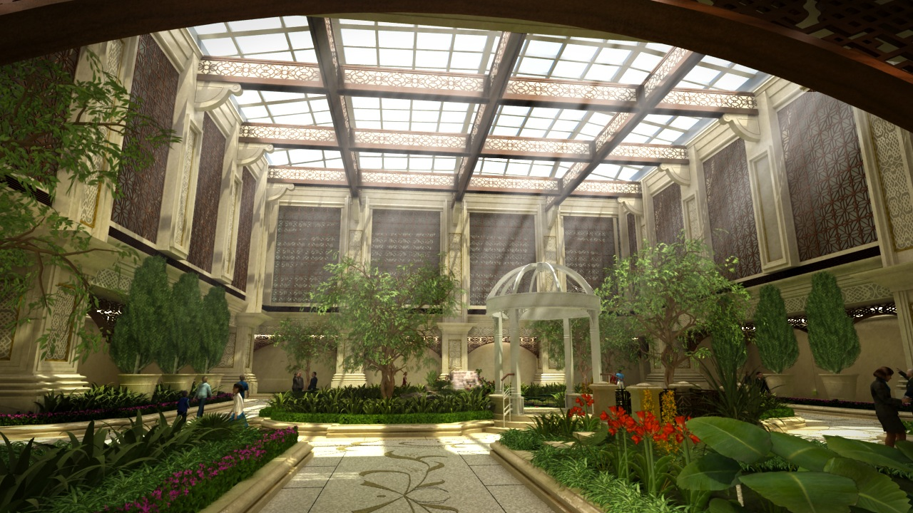 03 sands macau casino resort interior garden shade cgi ltd for Interior garden